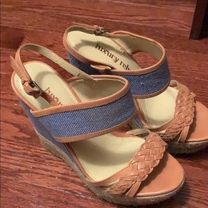 beige and jean sandal